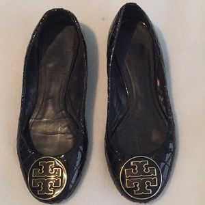 Tory Burch Black Patent Leather Shoes Flats 7.5